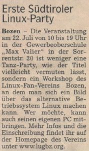 "Article about the first South Tyrolean GNU/Linux Installation Party. Newspaper ""Dolomiten"", 17/06/2001"