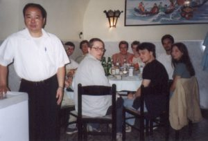 "LUGBZ members during the Installation Party organisation meeting at the ""Drago d'Oro"" together with host Marco, summer 2001"